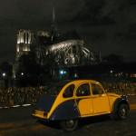 2CV Paris Tour : Visit Paris by 2CV! The back of Notre Dame by Night