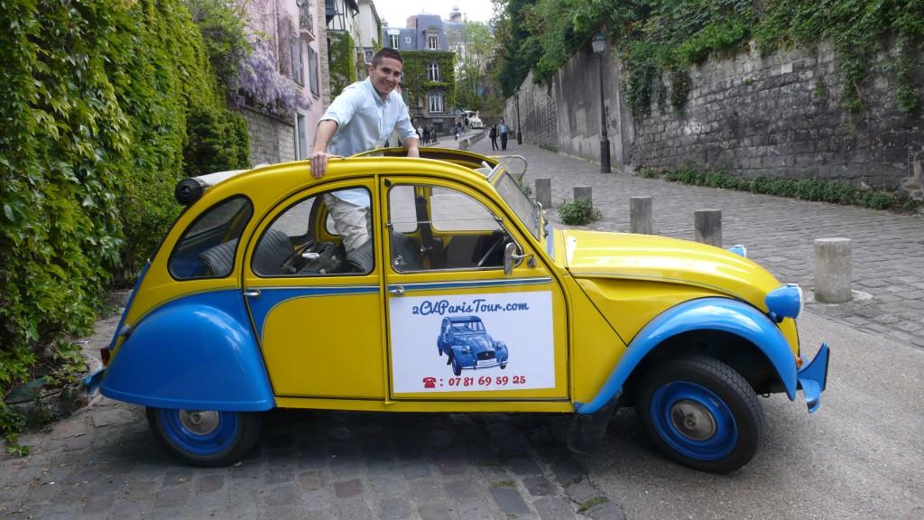 2CV Paris Tour - Visit Paris by 2CV! Eglantine has an open roof