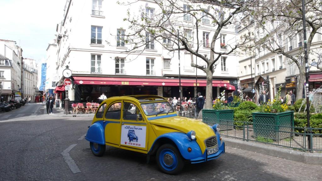 2CV Paris Tour - Visit Paris by 2CV! The Cafés of the Place de la Contrescarpe