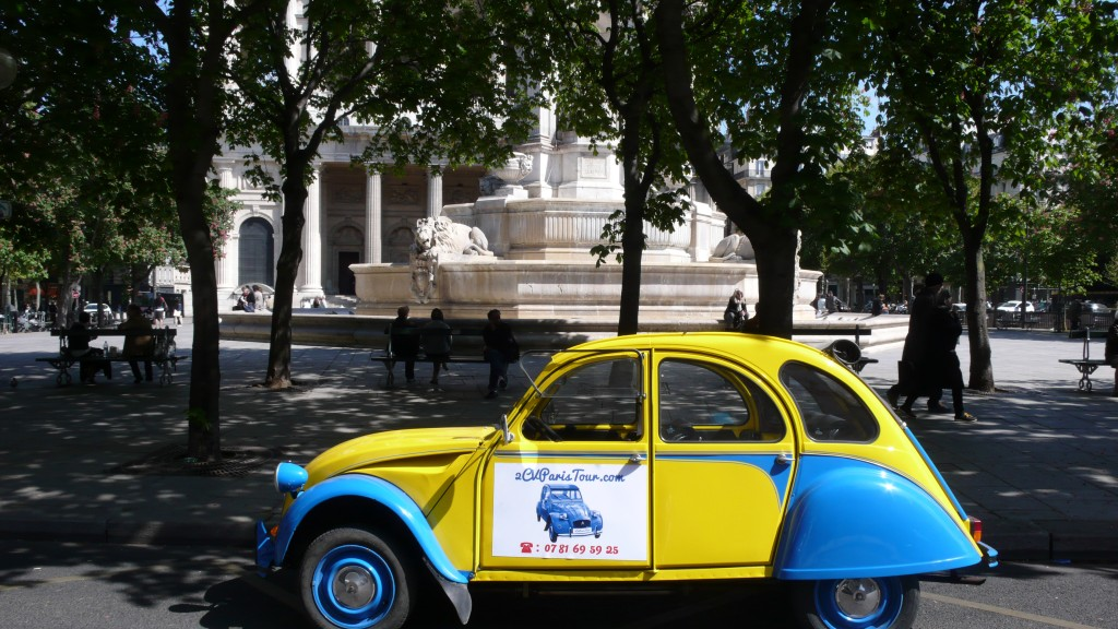 2CV Paris Tour : Visit Paris by 2CV The Church of Saint Sulpice and the fountain